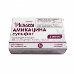 Купить Амикацин (амикацина сульфат) раствор для инъекций 250мг/мл 4мл №1 в Санкт-Петербурге